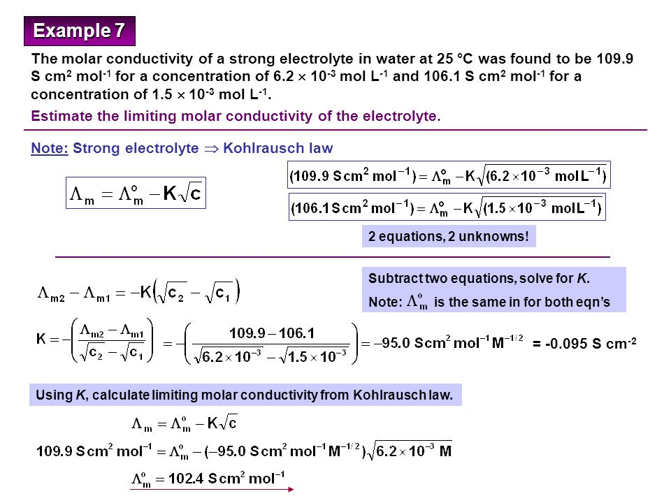 Conductivity Of Electrolyte : Solutions to examples ppt video online download