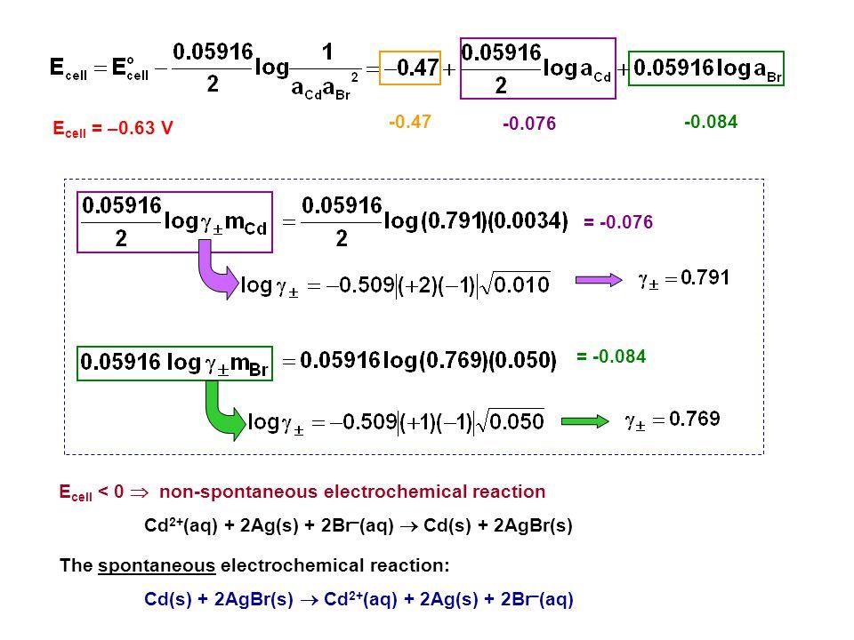 Ecell < 0  non-spontaneous electrochemical reaction