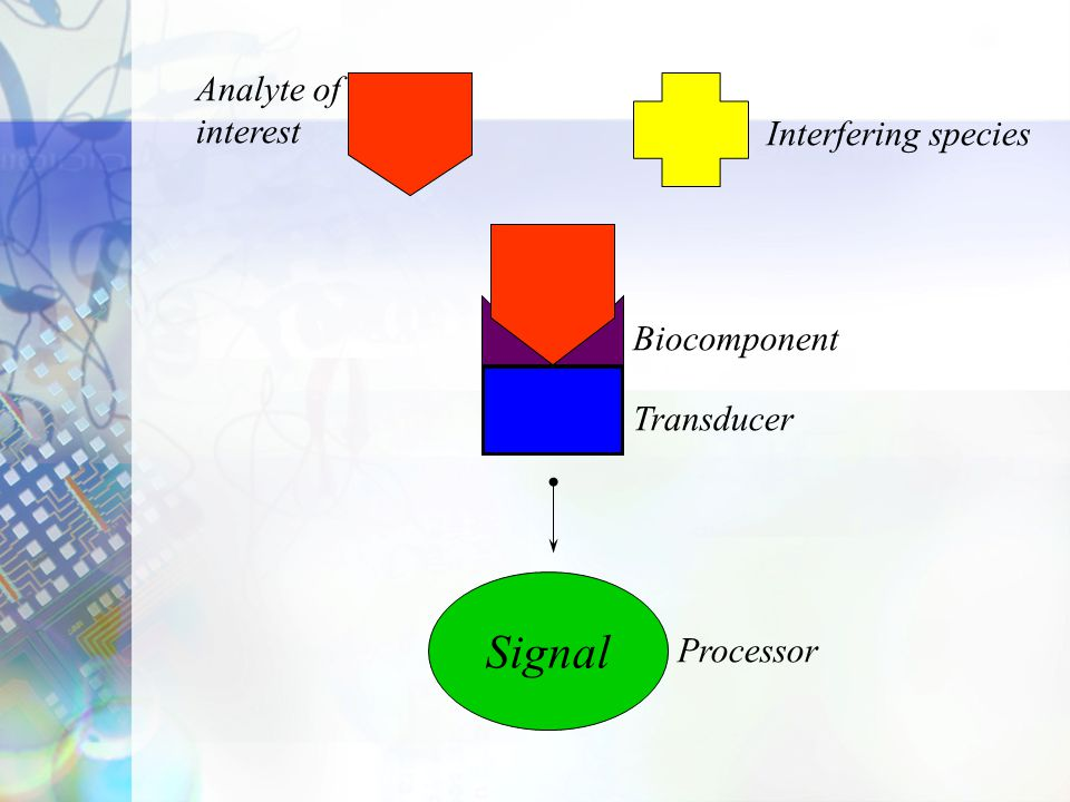 Signal Analyte of interest Interfering species Biocomponent Transducer
