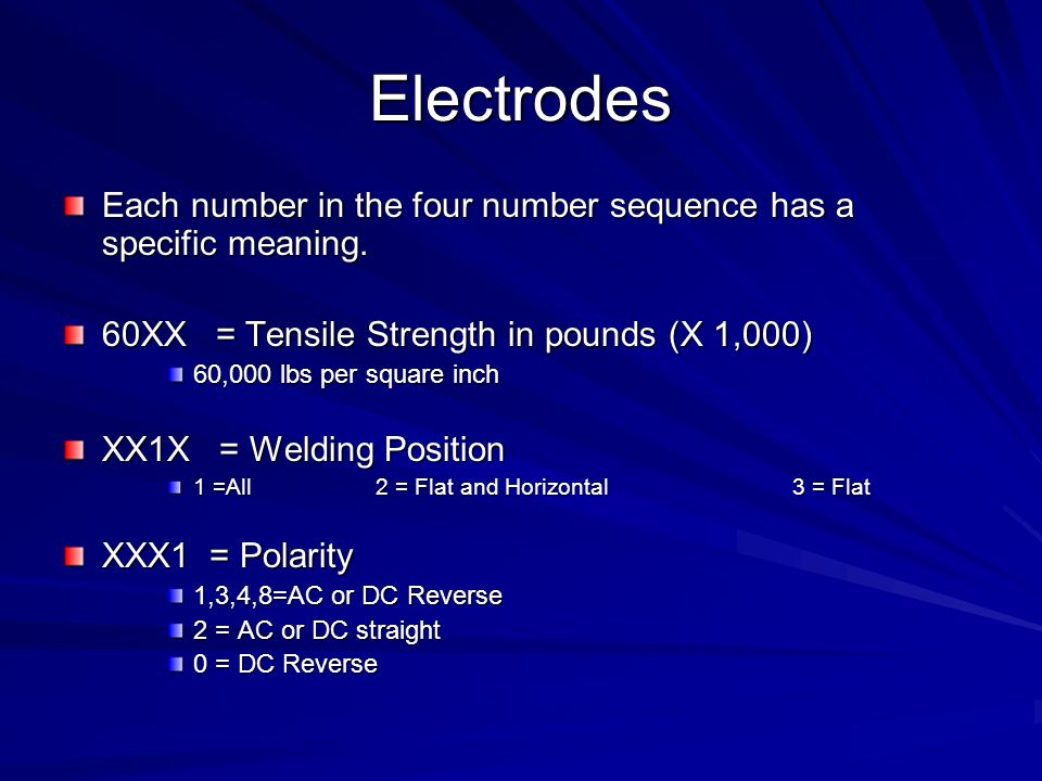 Electrodes Each number in the four number sequence has a specific meaning. 60XX = Tensile Strength in pounds (X 1,000)