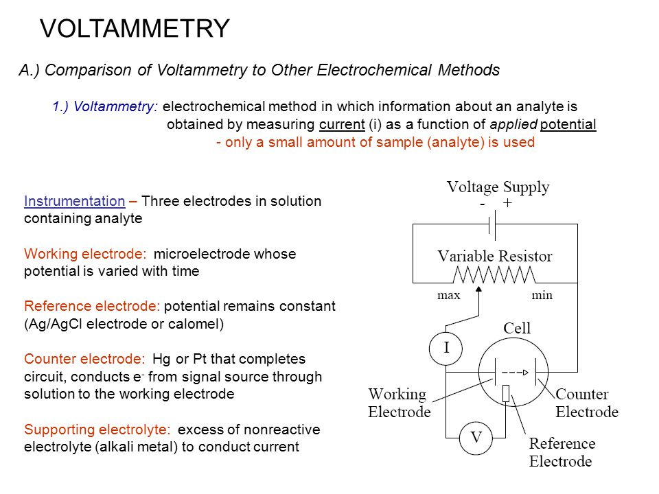 VOLTAMMETRY A.) Comparison of Voltammetry to Other Electrochemical Methods.