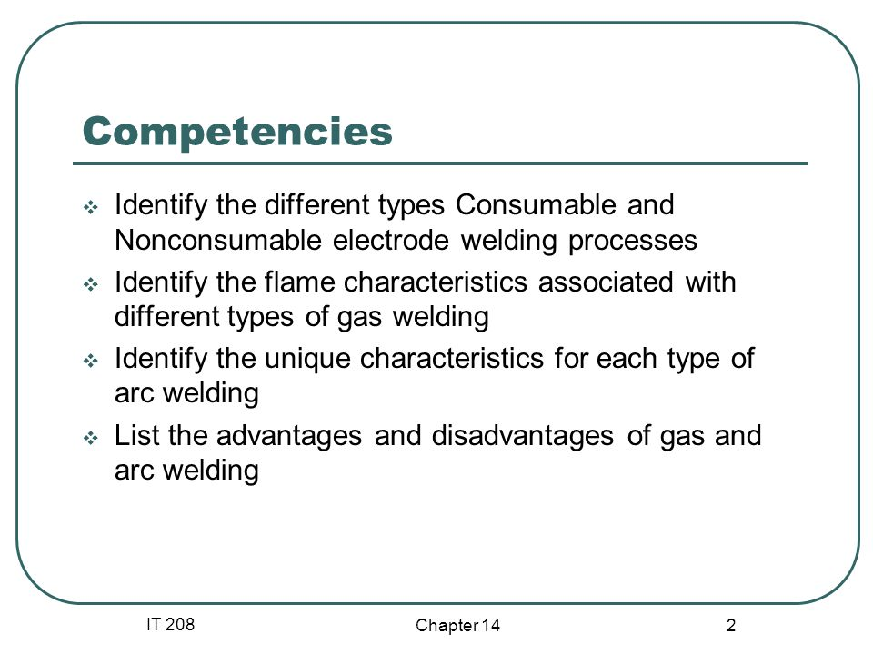 Competencies Identify the different types Consumable and Nonconsumable electrode welding processes.