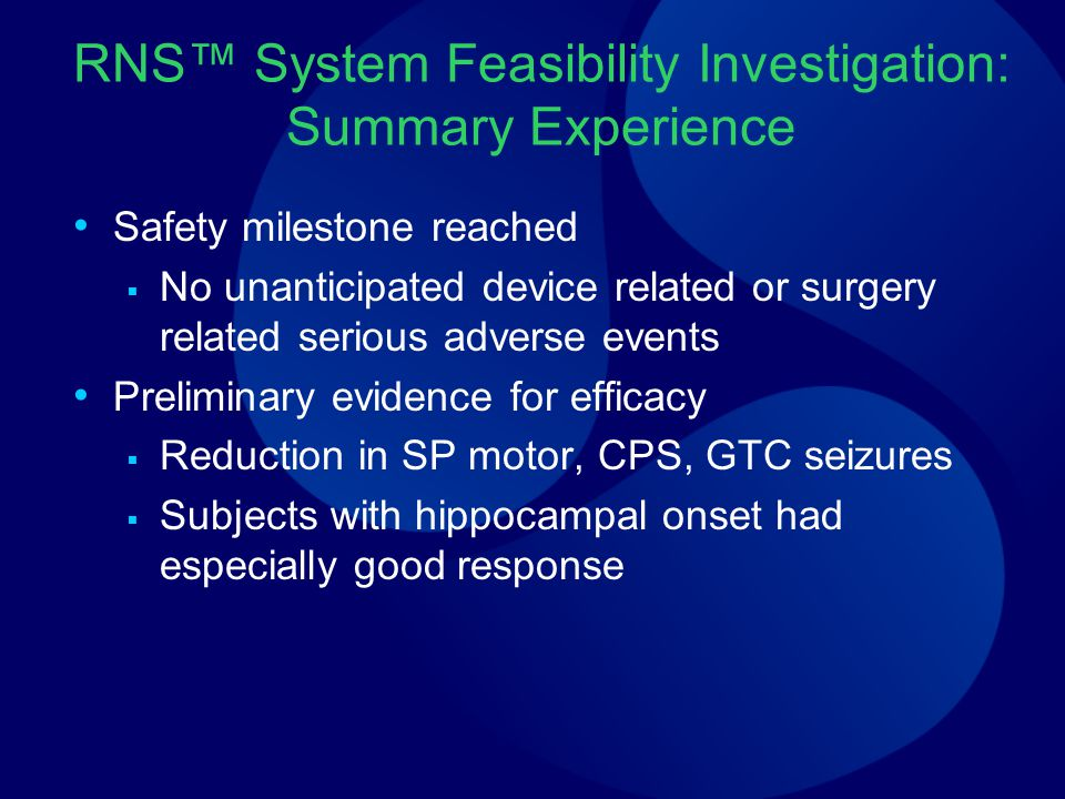 RNS™ System Feasibility Investigation: Summary Experience