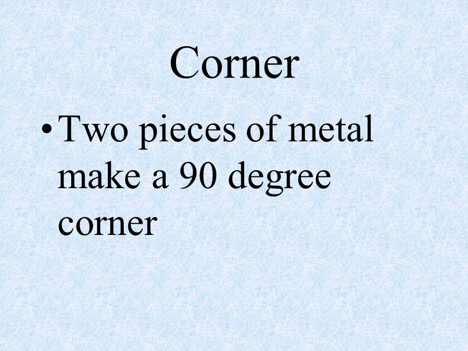 Corner Two pieces of metal make a 90 degree corner