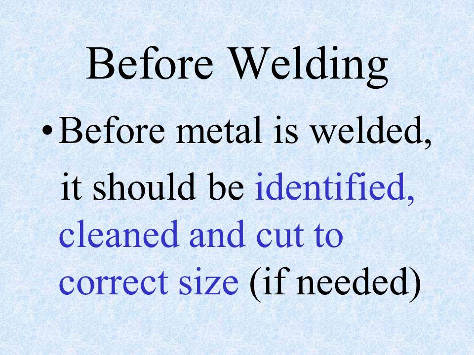 Before Welding Before metal is welded,