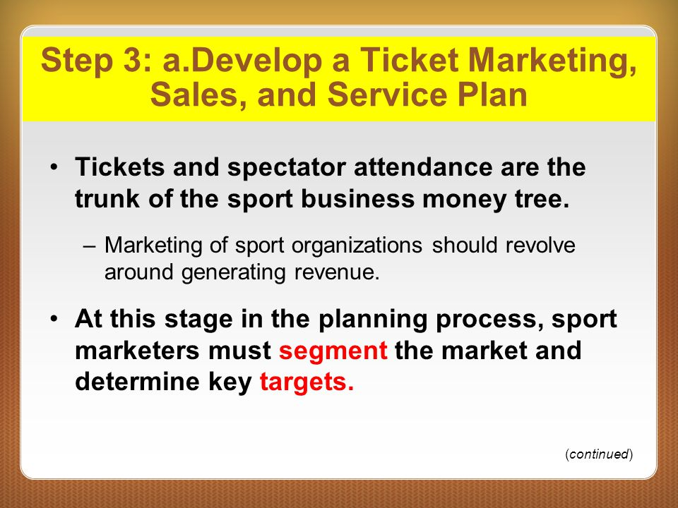 Step 3: a.Develop a Ticket Marketing, Sales, and Service Plan