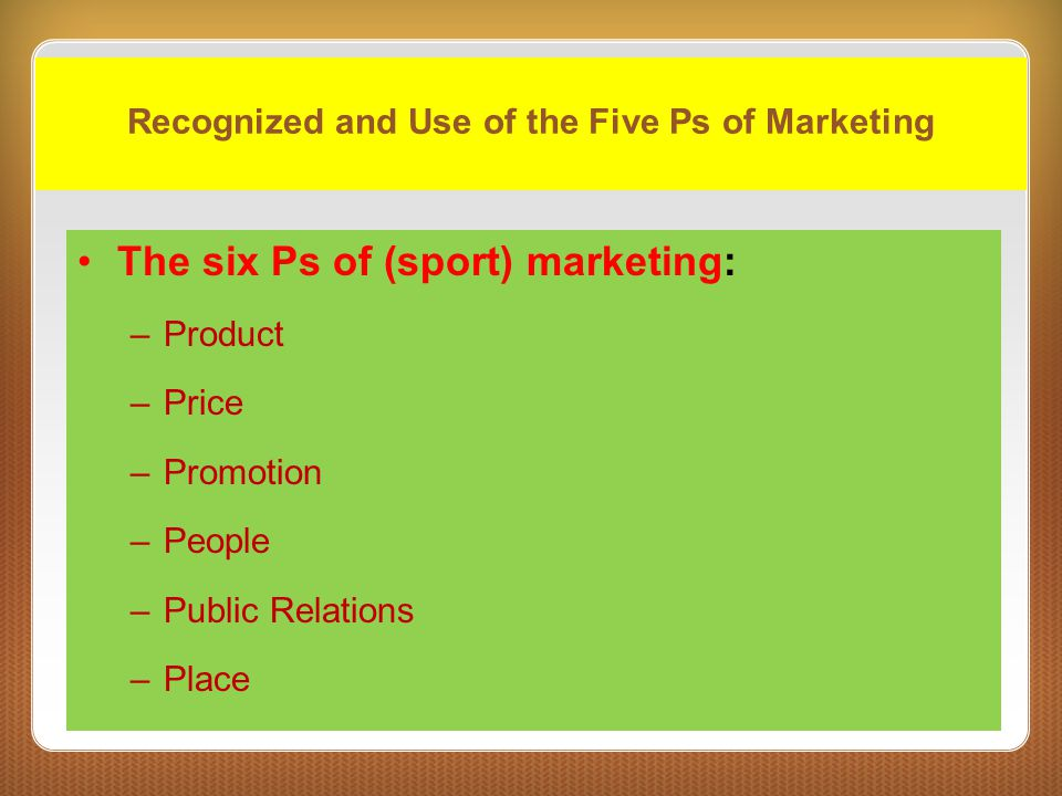 Recognized and Use of the Five Ps of Marketing
