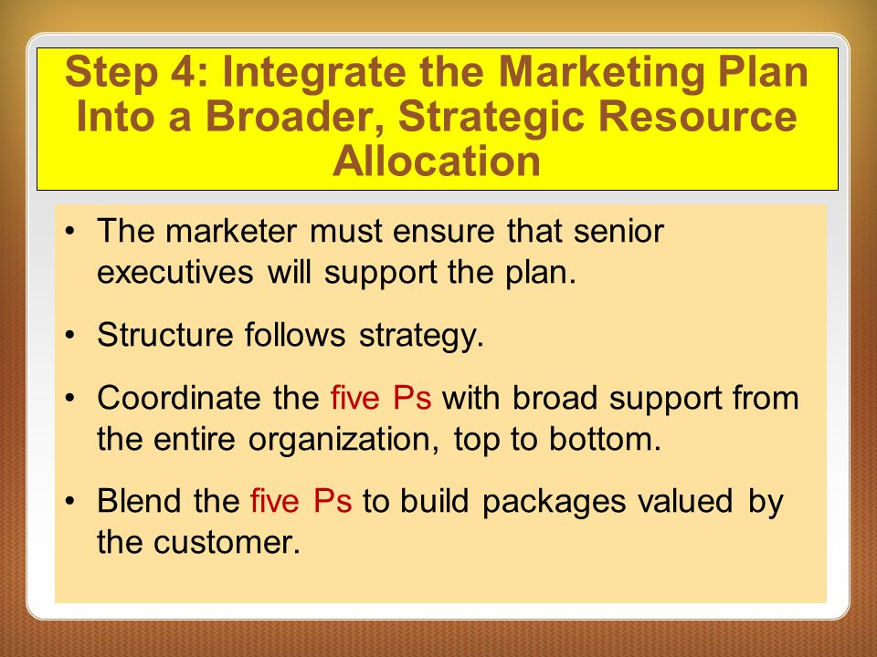 Step 4: Integrate the Marketing Plan Into a Broader, Strategic Resource Allocation