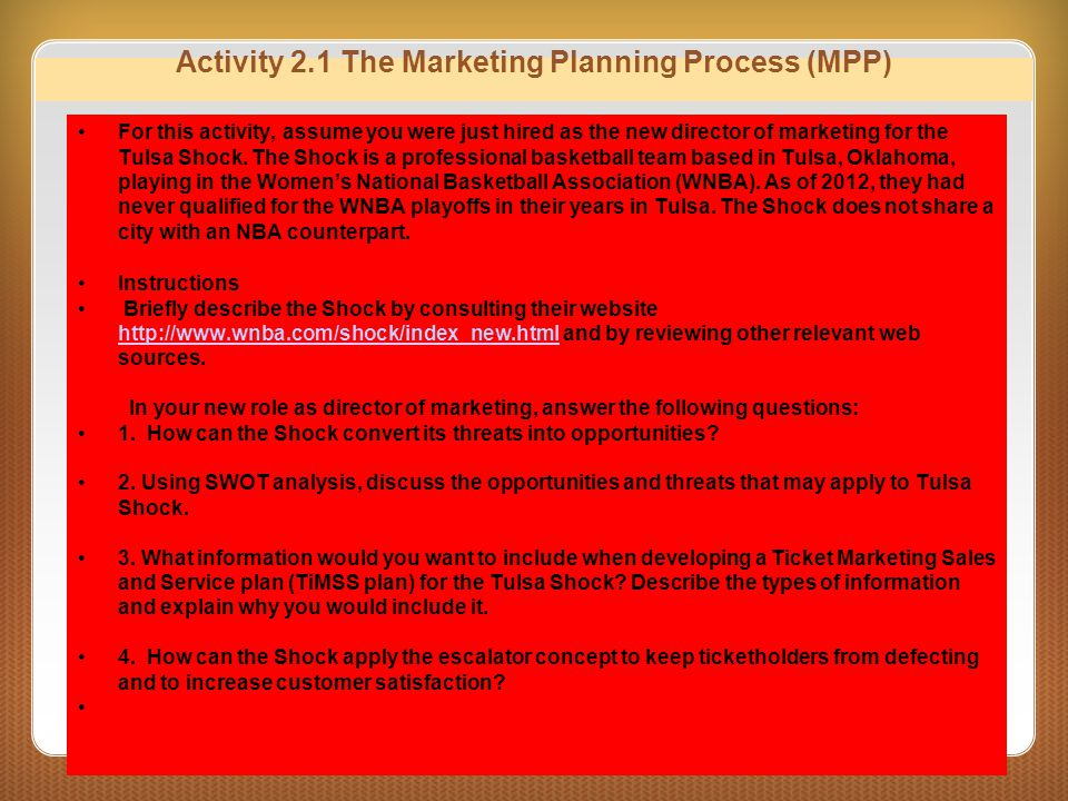 Activity 2.1 The Marketing Planning Process (MPP)