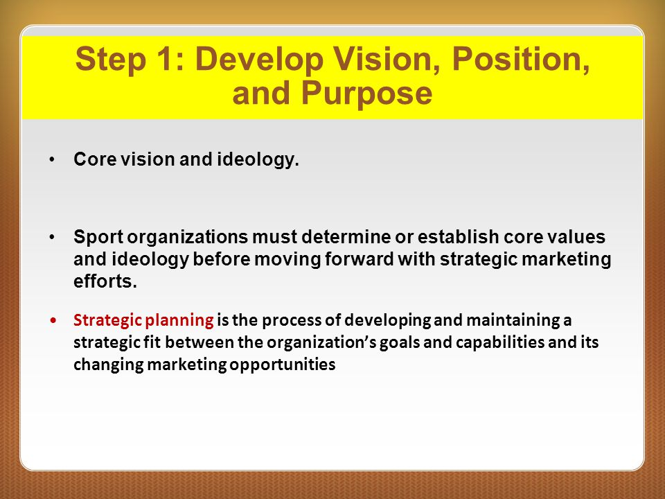 Step 1: Develop Vision, Position, and Purpose