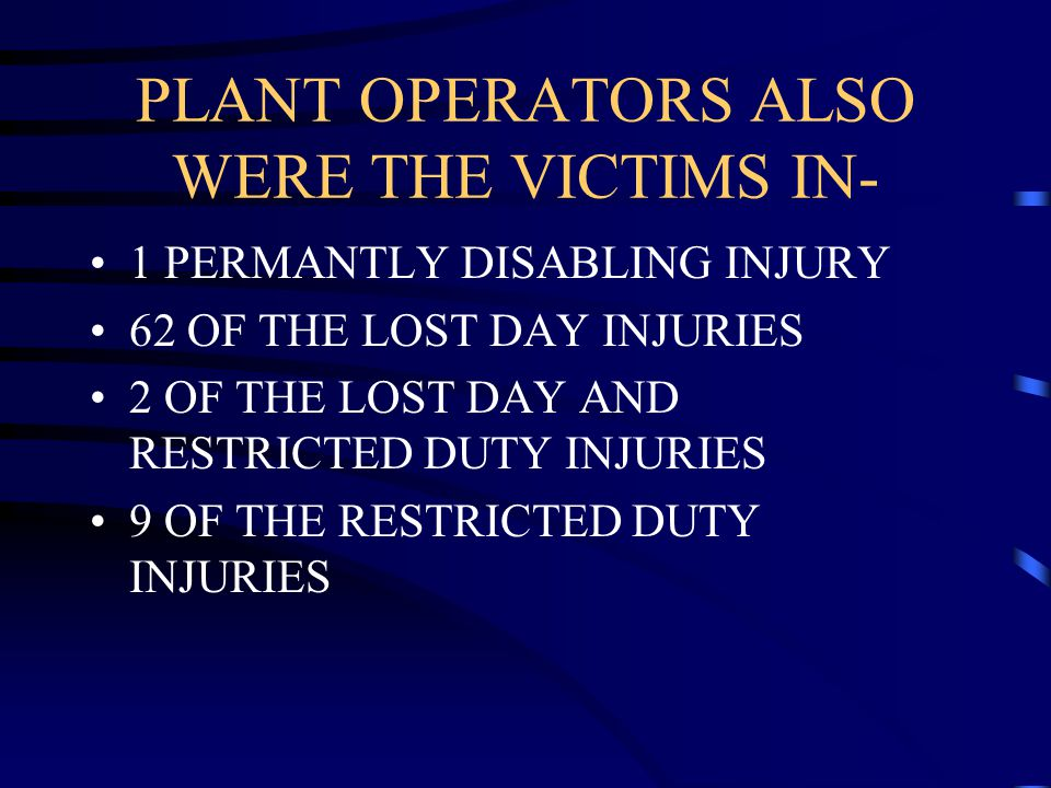 PLANT OPERATORS ALSO WERE THE VICTIMS IN-