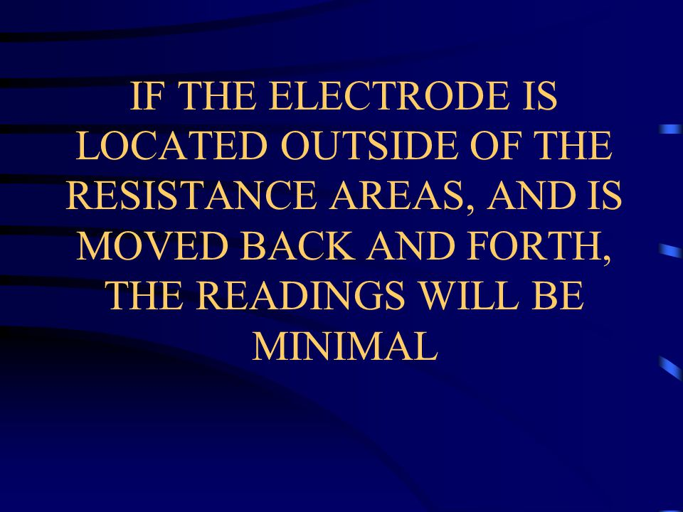 IF THE ELECTRODE IS LOCATED OUTSIDE OF THE RESISTANCE AREAS, AND IS MOVED BACK AND FORTH, THE READINGS WILL BE MINIMAL