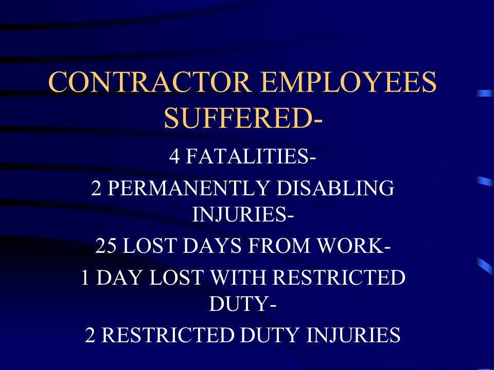 CONTRACTOR EMPLOYEES SUFFERED-