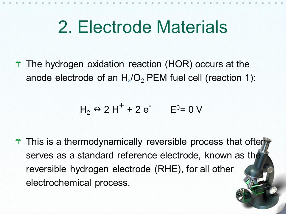 2. Electrode Materials The hydrogen oxidation reaction (HOR) occurs at the anode electrode of an H2/O2 PEM fuel cell (reaction 1):
