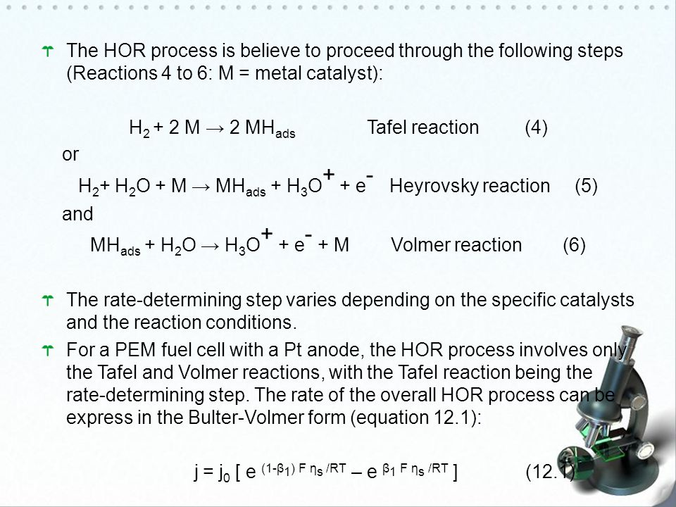 H2 + 2 M → 2 MHads Tafel reaction (4) or