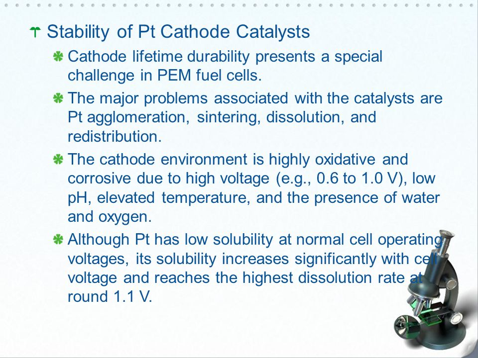 Stability of Pt Cathode Catalysts