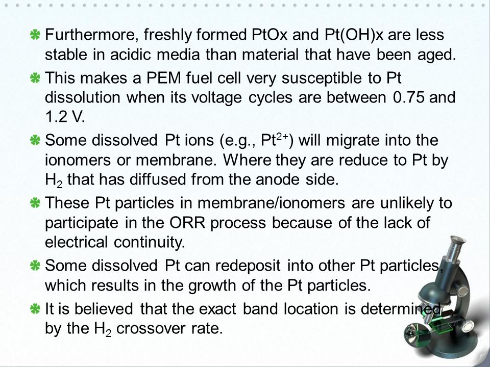 Furthermore, freshly formed PtOx and Pt(OH)x are less stable in acidic media than material that have been aged.