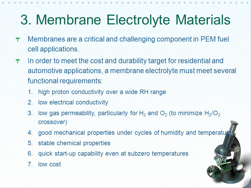 3. Membrane Electrolyte Materials