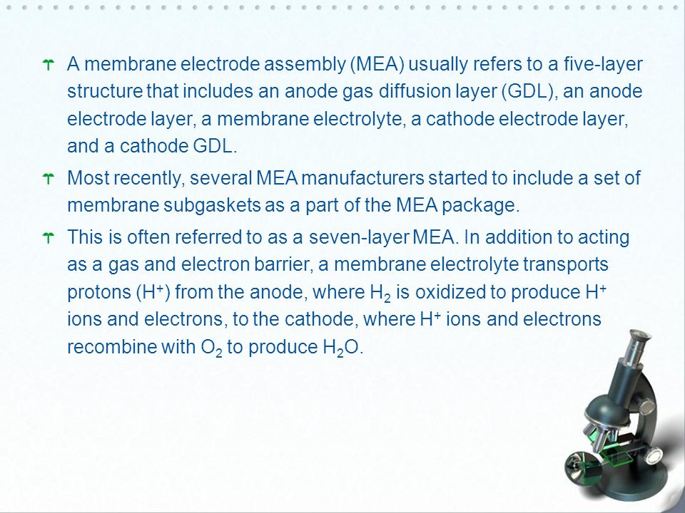 A membrane electrode assembly (MEA) usually refers to a five-layer structure that includes an anode gas diffusion layer (GDL), an anode electrode layer, a membrane electrolyte, a cathode electrode layer, and a cathode GDL.