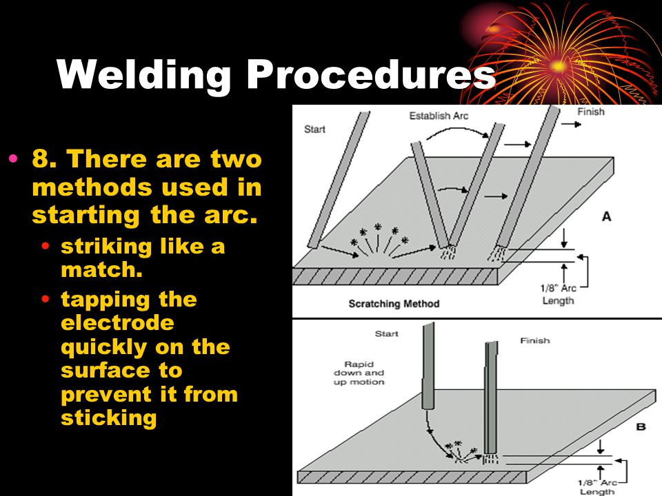 Welding Procedures 8. There are two methods used in starting the arc.