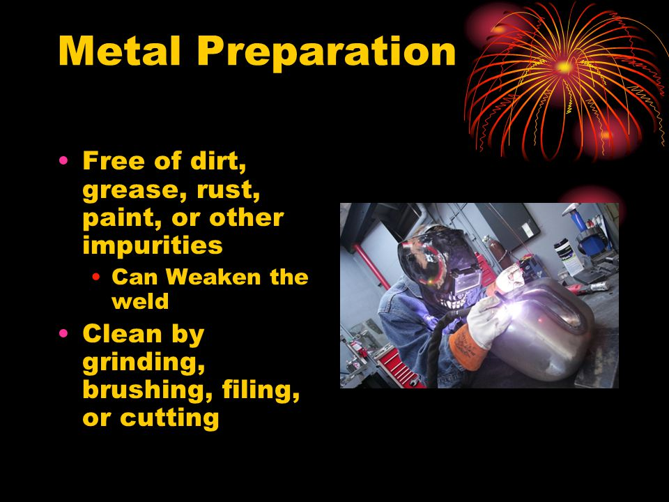 Metal Preparation Free of dirt, grease, rust, paint, or other impurities.
