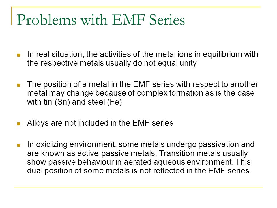 Problems with EMF Series