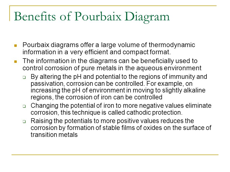 Benefits of Pourbaix Diagram