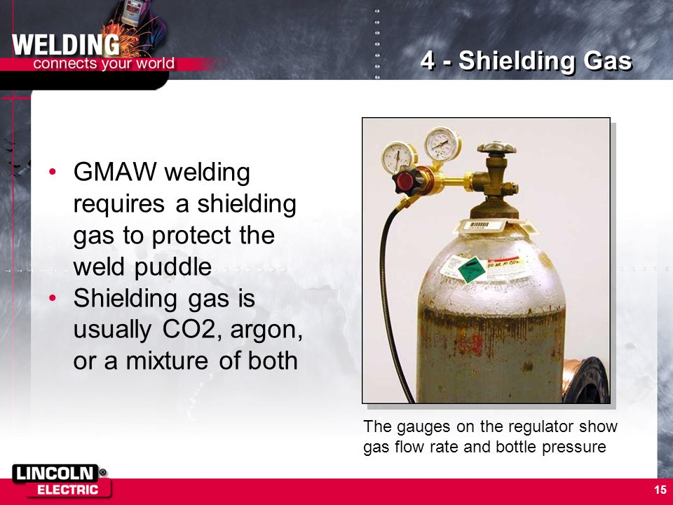 GMAW welding requires a shielding gas to protect the weld puddle