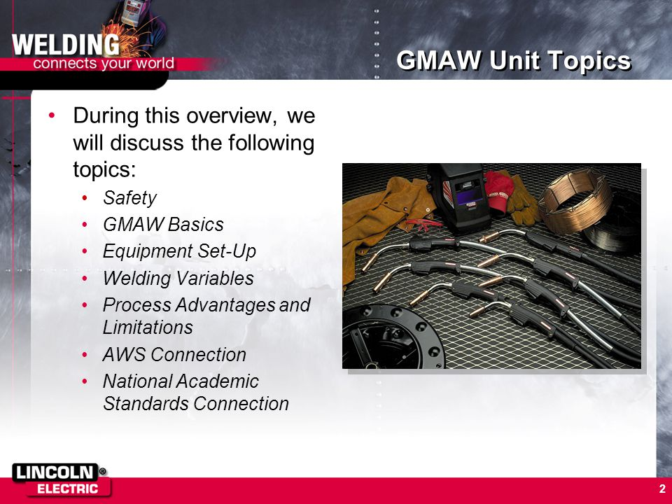 GMAW Unit Topics During this overview, we will discuss the following topics: Safety. GMAW Basics.