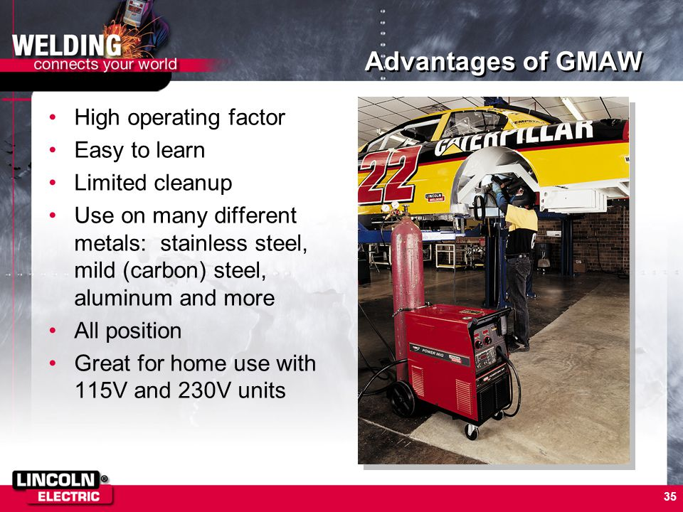 Advantages of GMAW High operating factor Easy to learn Limited cleanup
