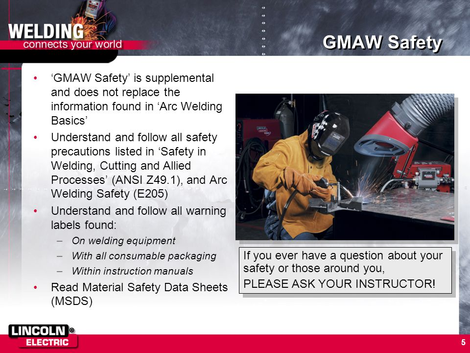 GMAW Safety 'GMAW Safety' is supplemental and does not replace the information found in 'Arc Welding Basics'