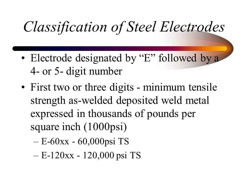 Classification of Steel Electrodes