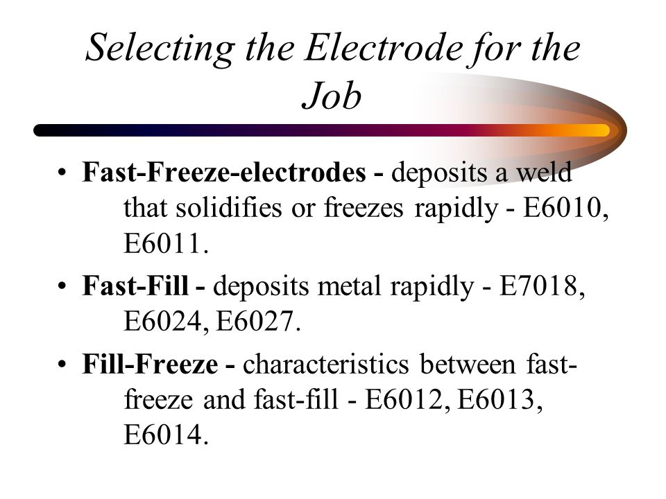 Selecting the Electrode for the Job