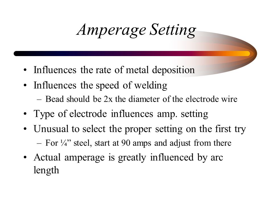 Amperage Setting Influences the rate of metal deposition