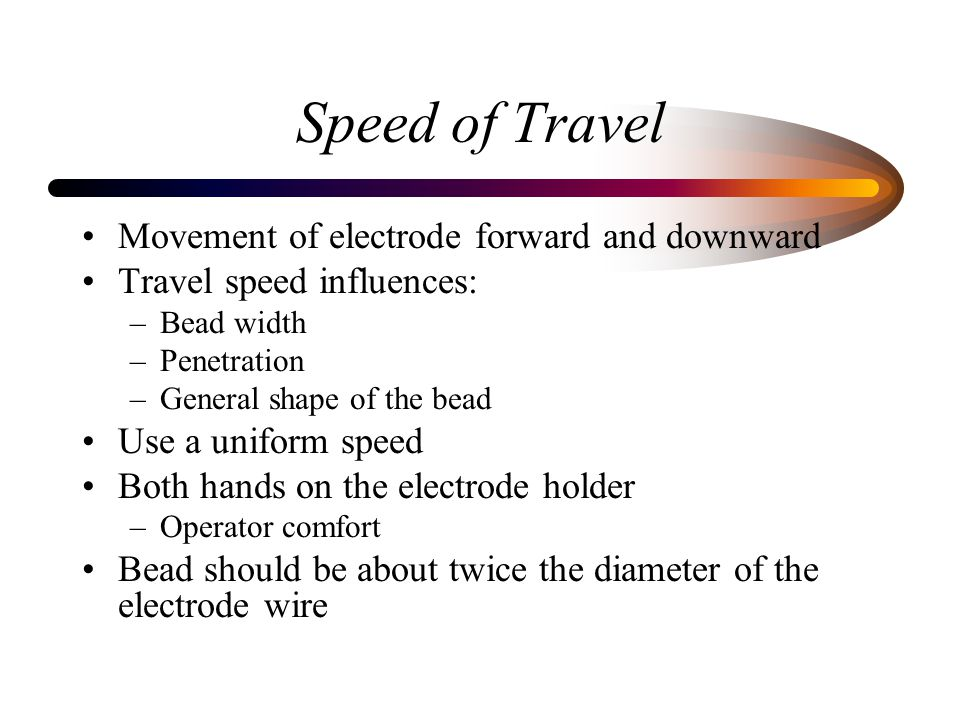 Speed of Travel Movement of electrode forward and downward