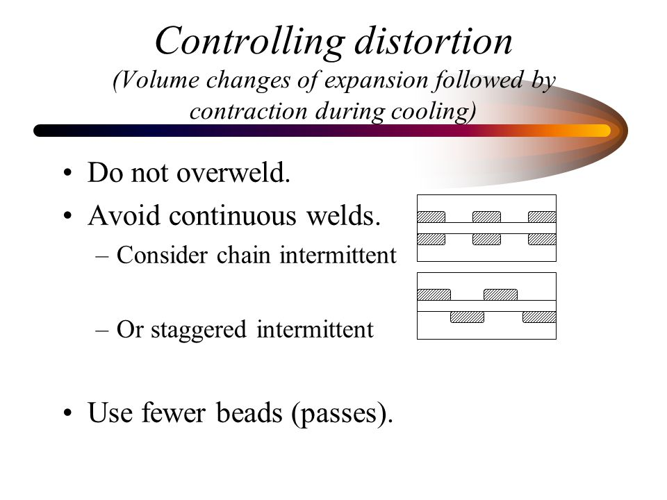 Controlling distortion (Volume changes of expansion followed by contraction during cooling)