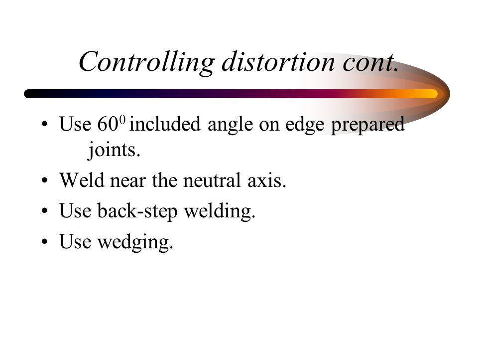 Controlling distortion cont.