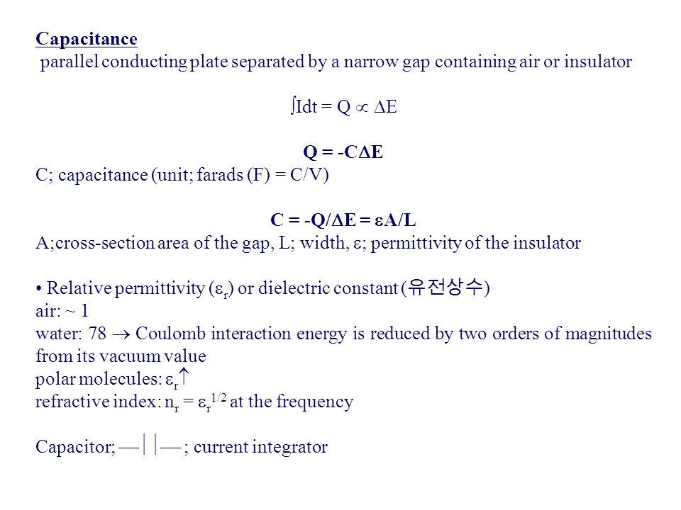 C; capacitance (unit; farads (F) = C/V) C = -Q/E = A/L