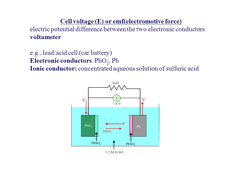 Cell voltage (E) or emf(electromotive force)