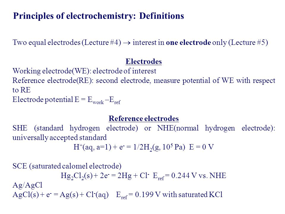 Principles of electrochemistry: Definitions