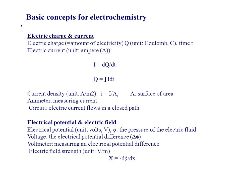 Basic concepts for electrochemistry