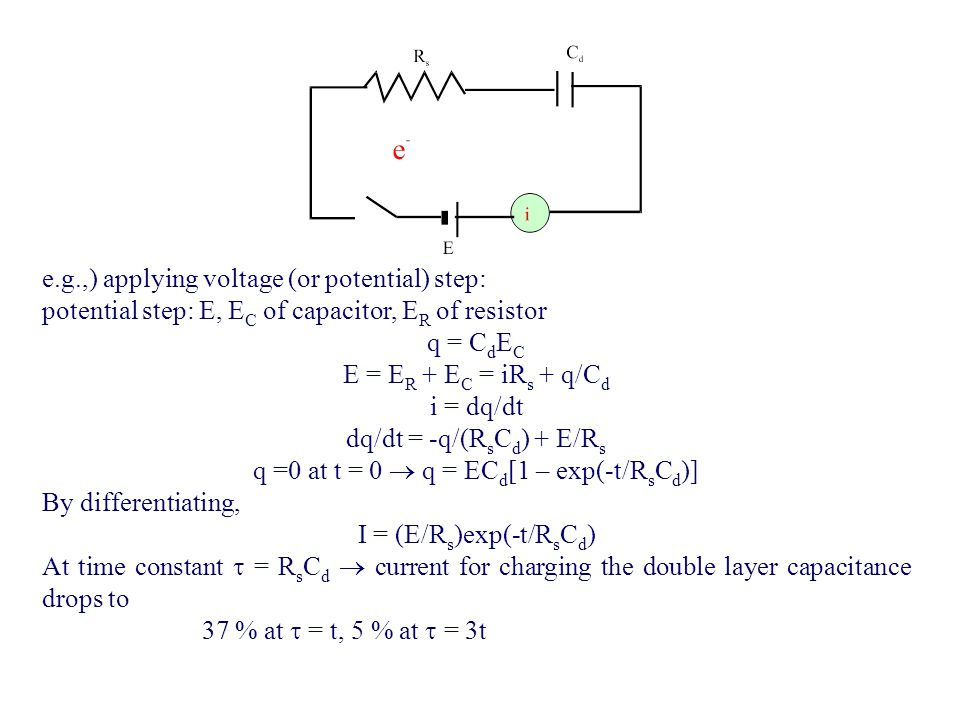 e.g.,) applying voltage (or potential) step: