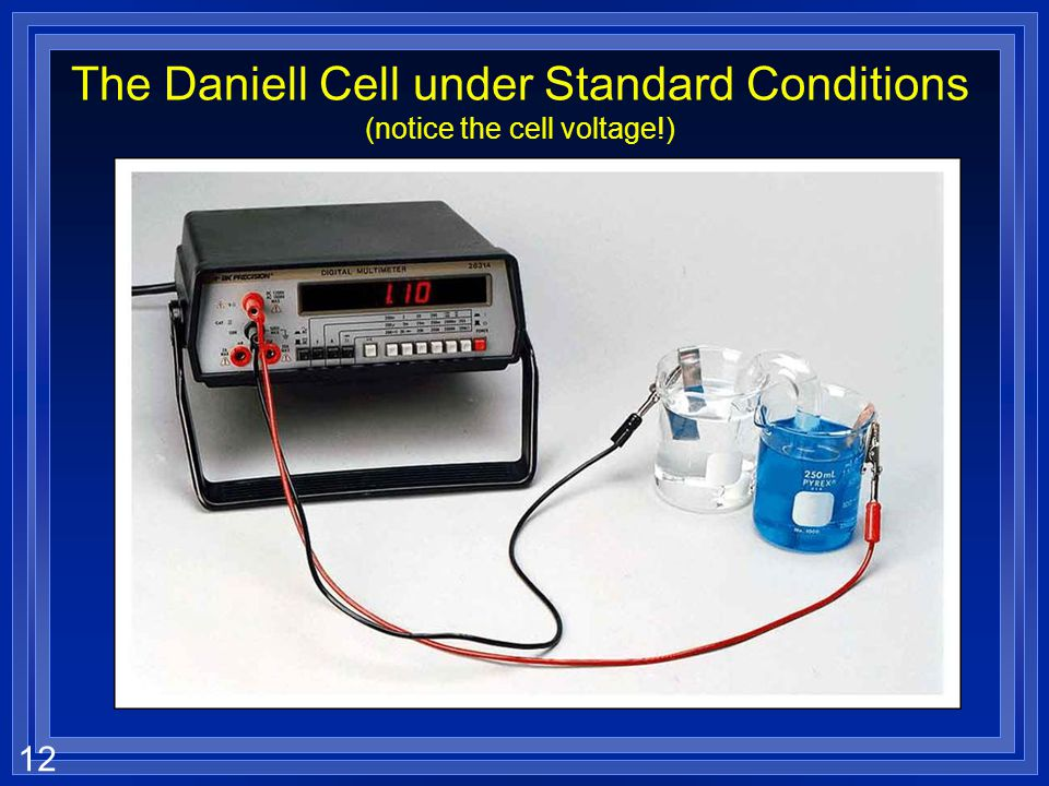 The Daniell Cell under Standard Conditions (notice the cell voltage!)