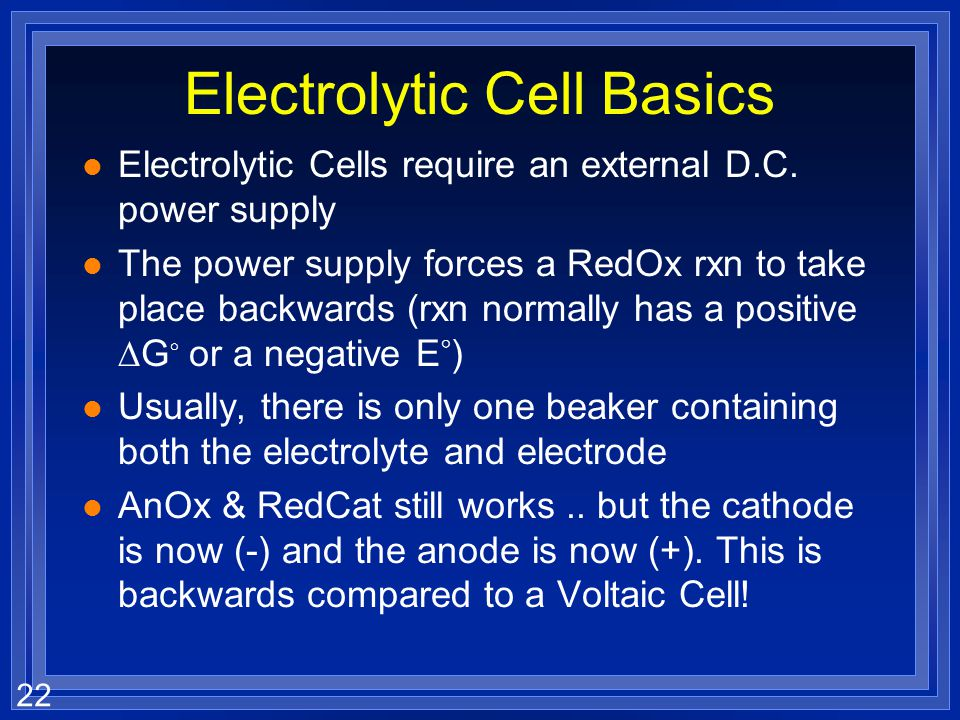 Electrolytic Cell Basics