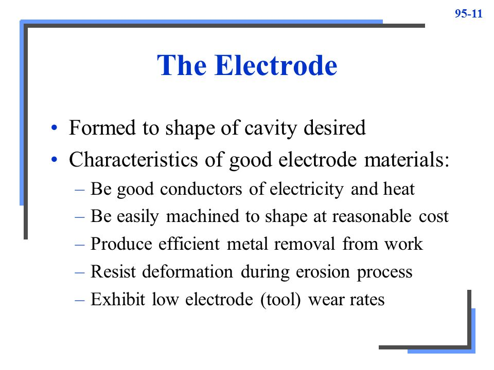 The Electrode Formed to shape of cavity desired