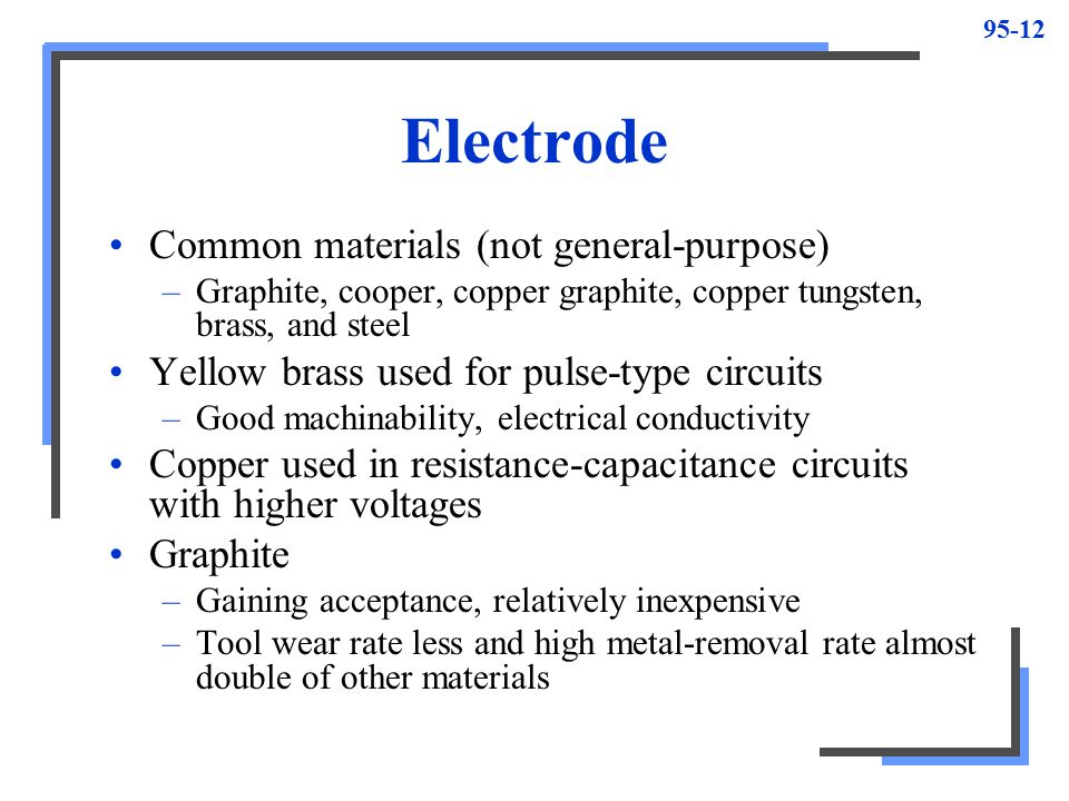 Electrode Common materials (not general-purpose)