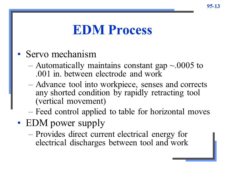 EDM Process Servo mechanism EDM power supply