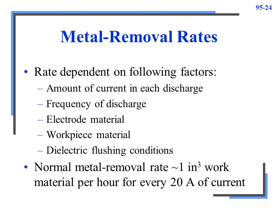 Metal-Removal Rates Rate dependent on following factors: