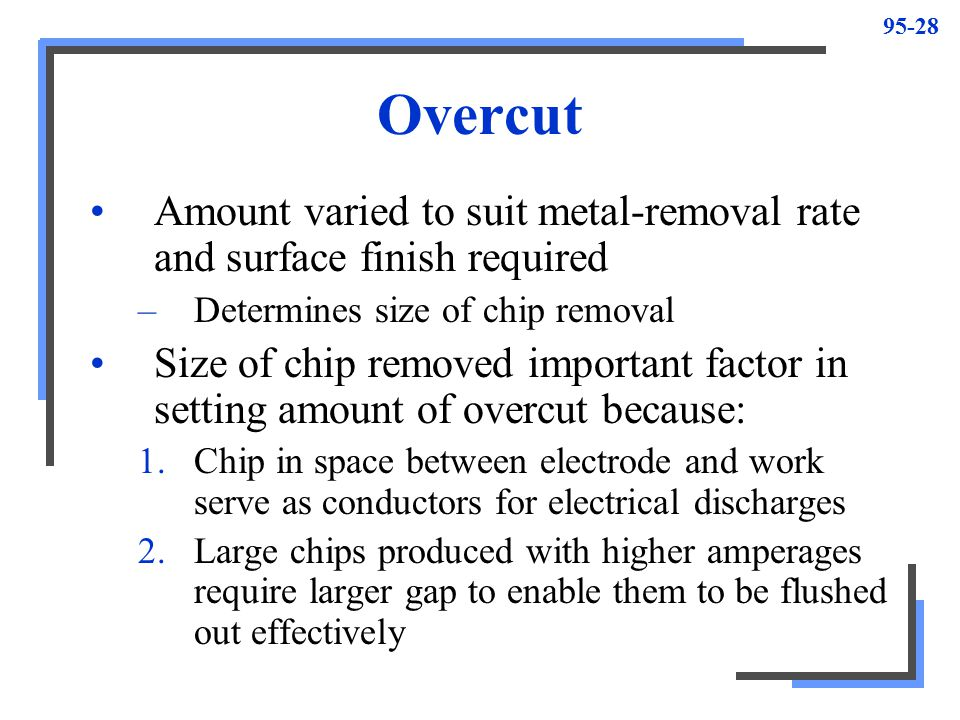 Overcut Amount varied to suit metal-removal rate and surface finish required. Determines size of chip removal.