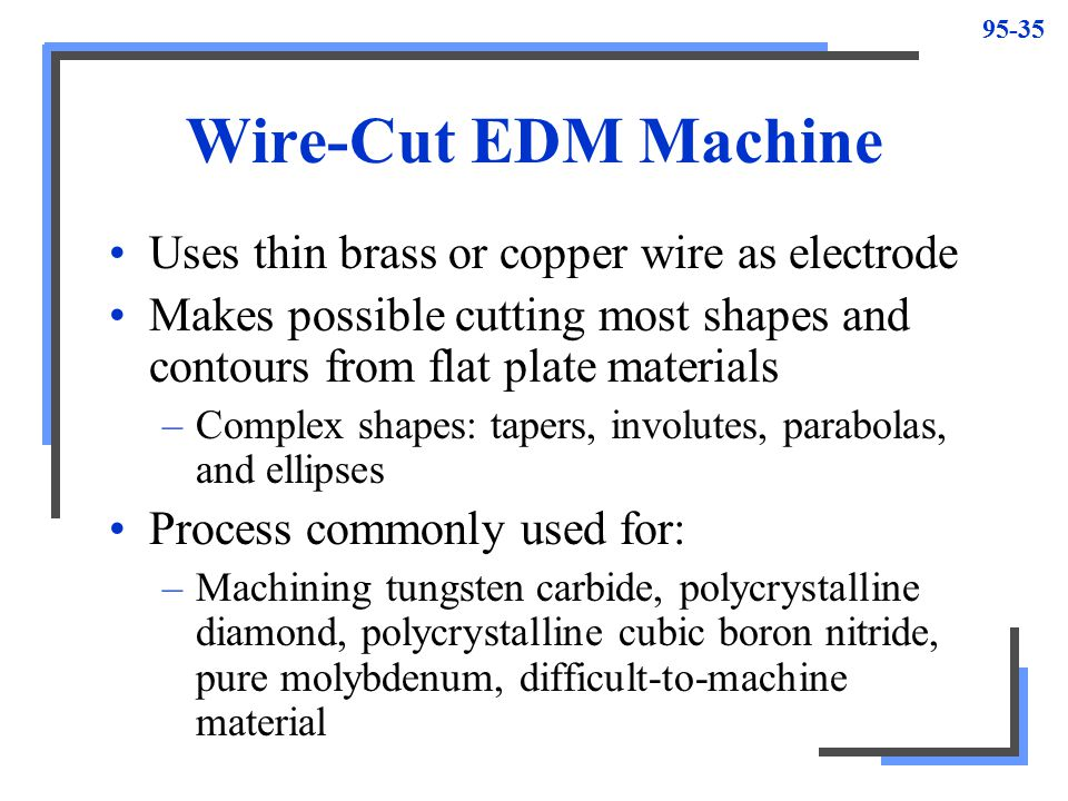 Wire-Cut EDM Machine Uses thin brass or copper wire as electrode